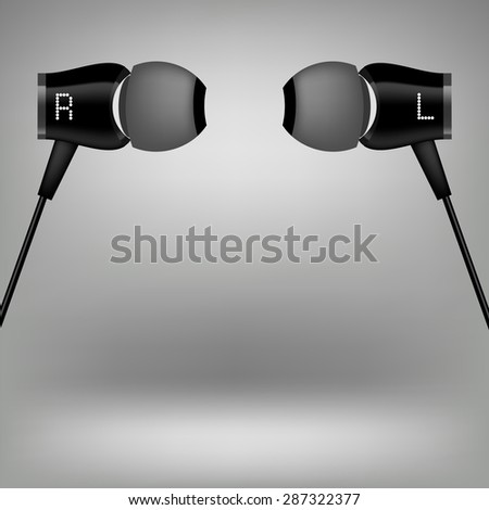 Grey Earphones. Modern Headphones Icon Isolated on Grey Background.