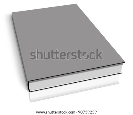 Grey empty book template on white background.