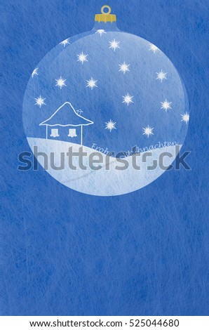 Grey fiber fabric and blue glitter film and christmas ball and the german words for Merry Christmas, christmas card