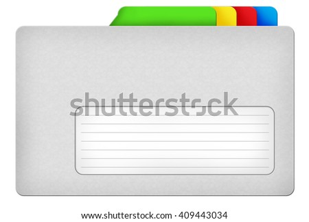 Grey file folder illustration with colored bookmarks and blank area isolated over white background - stock photo