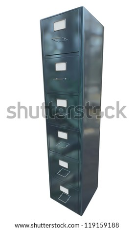grey filing cabinet for documents with important information - stock photo