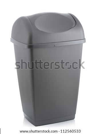 grey flip lid bin isolated on white background