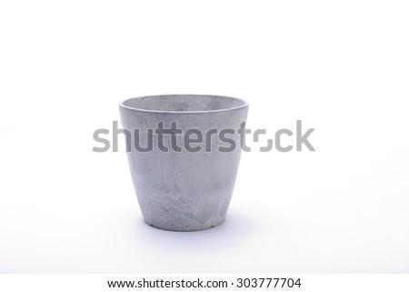Grey flowerpot. Isolated on white background - stock photo