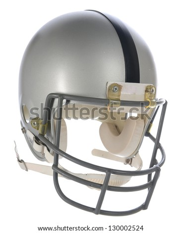 Grey Football Helmet with Black Stripe at three quarter view.
