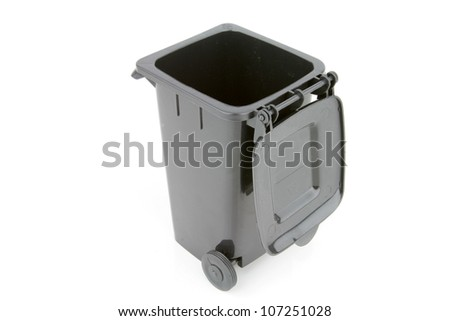 Grey garbage wheelie bin with a open lid on a white background.