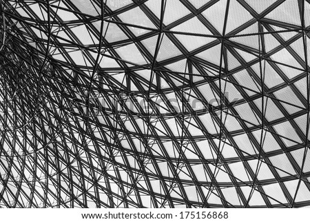 Grey geometric abstract background - part of a modern ceiling - stock photo