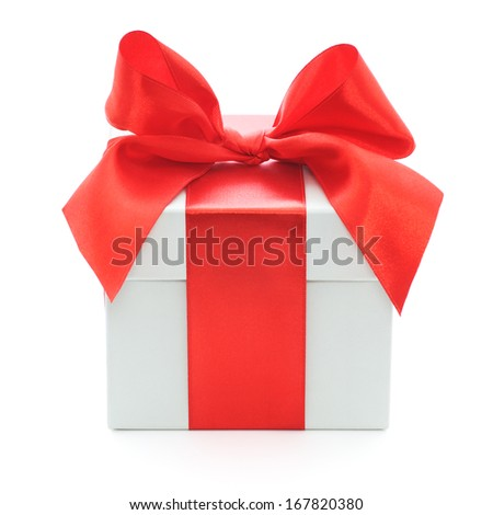 Grey gift box with red bow on white background