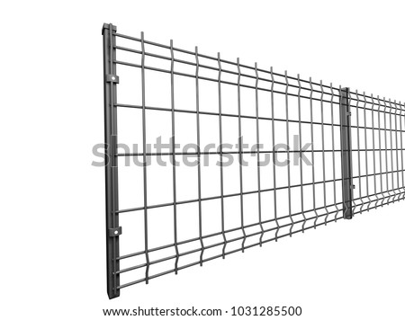 Grey Grating Wire Industrial Fence Panels Stock Illustration ...