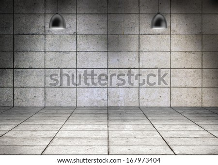 Grey grid room with lights