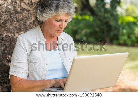 Grey haired woman with a laptop while sitting on a tree - stock photo