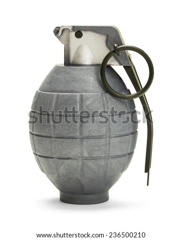 Grey Hand Grenade With Pin Isolated on White Background. - stock photo