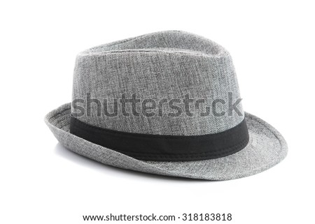 grey hat on the white background isolated - stock photo