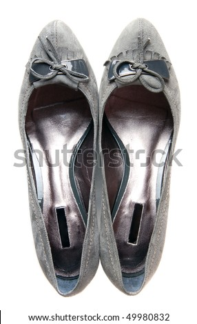 Grey high heels female boots - stock photo