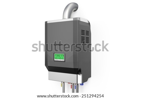 Grey home gas-fired boiler,  water heater isolated on white background - stock photo