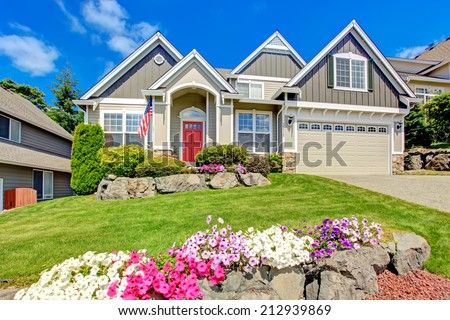 grey house exterior entrance porch red stock photo 212939869 shutterstock. Black Bedroom Furniture Sets. Home Design Ideas