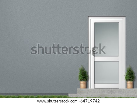 Grey house front with white door Illustration of a modern grey house front with white entrance; it is a photo-montage - stock photo