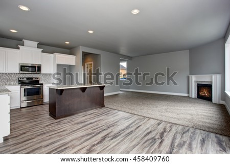 Grey house interior of kitchen room connected with the living room. Open plan