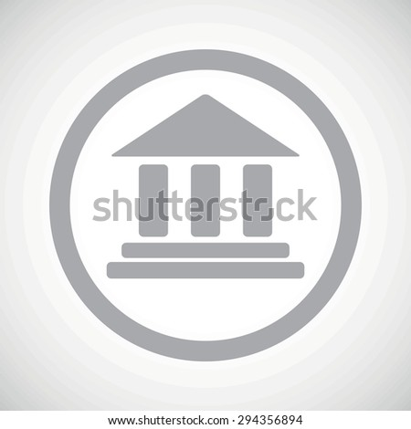 Grey image of classical building with pillars in circle, on white gradient background - stock photo