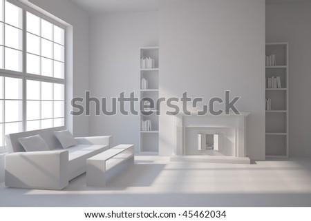 grey interior concept - stock photo
