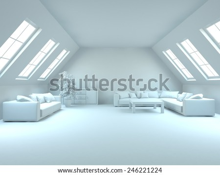 grey interior concept for house-3D rendering