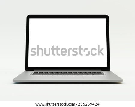 grey laptop on white background