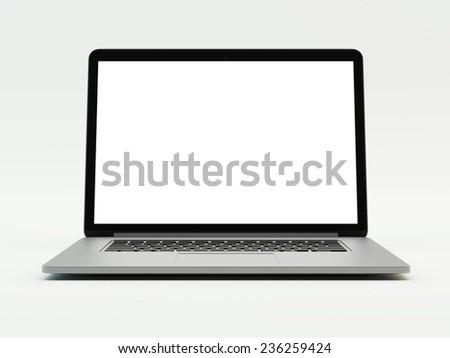 grey laptop on white background - stock photo