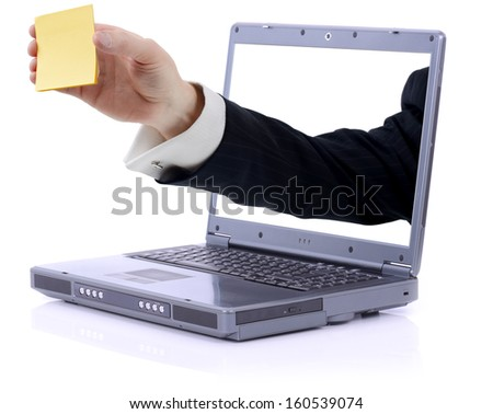 grey laptop with yellow stick note reminder with  copy space clipping path isolated on white - stock photo