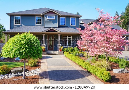 Grey large luxury house  exterior with spring blooming pink trees.