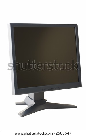 "grey 19"" lcd display on white background with clipping path"