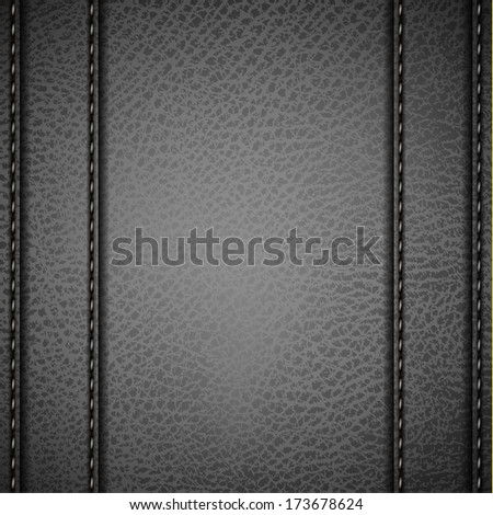 Grey Leather background with stitches  - raster version - stock photo