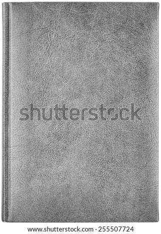 Grey leather notebook isolated on white background - stock photo