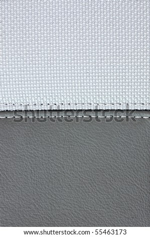 grey leather sewing white textile texture - stock photo