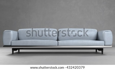 Grey Leather Sofa In Front Of A Concrete Wall (3D Rendering)