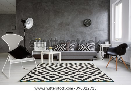 Grey Living Room With Sofa Chairs Standing Lamp Pattern Carpet And Trendy Decorative