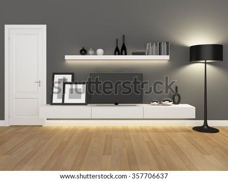 grey living room with tv stand and bookcase - rendering