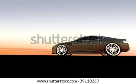 Grey luxury sports car / sportscar at sunset / sunrise with copy space - stock photo