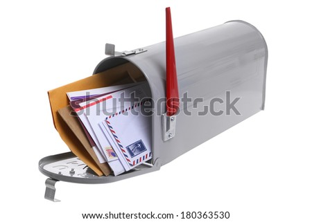 Grey Mailbox full of mail isolated on a white background - stock photo