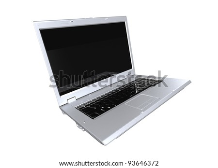 Grey matte laptop isolated 3d model