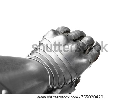 Grey Metal Finger Gauntlet isolated on the white background.