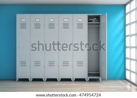 grey metal lockers in front of blue wall 3d rendering