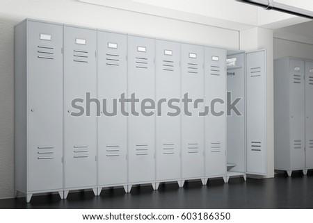 grey metal lockers in lockers room extreme closeup 3d rendering