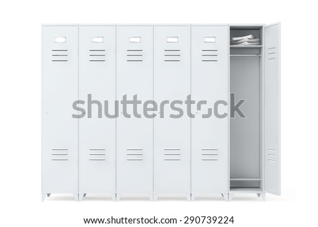 Grey Metal Lockers on a white background - stock photo