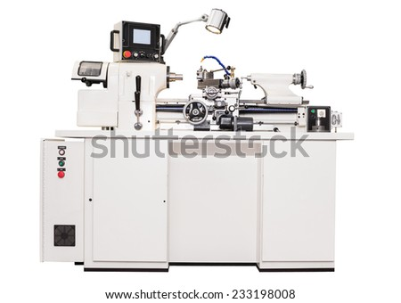 Grey metalworking  lathe machine isolated on a white background - stock photo
