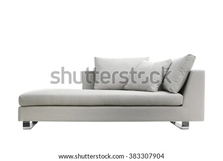 grey modern couch isolated on white - stock photo