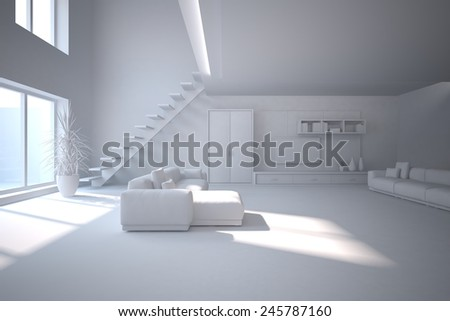 grey modern interior with panoramic windows and corner sofa-3D rendering - stock photo
