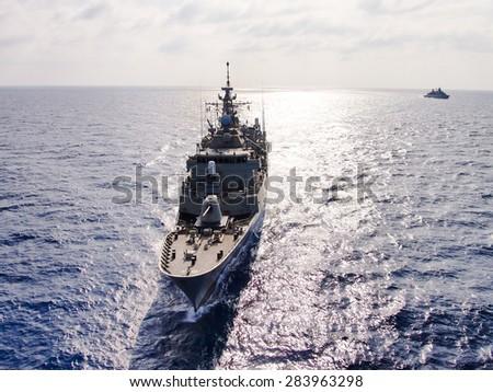 Grey modern warship,aerial view - stock photo