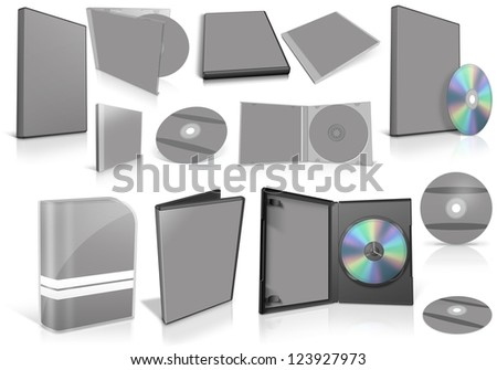 Grey multimedia disks and boxes on white background. Ready to be personalized by you.