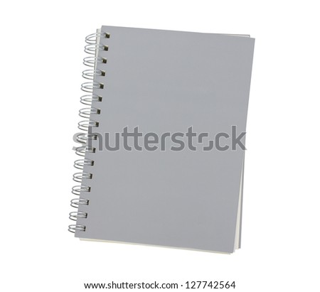 grey notebook isolated on white background - stock photo