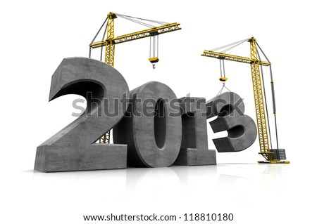 Grey number of new year with two cranes - stock photo