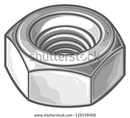 grey nut (metal nut, screw nut, mechanical nut) - stock photo